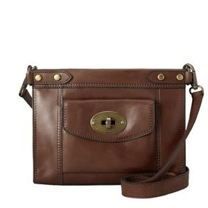 Fossil vintage revival brown leather crossbody